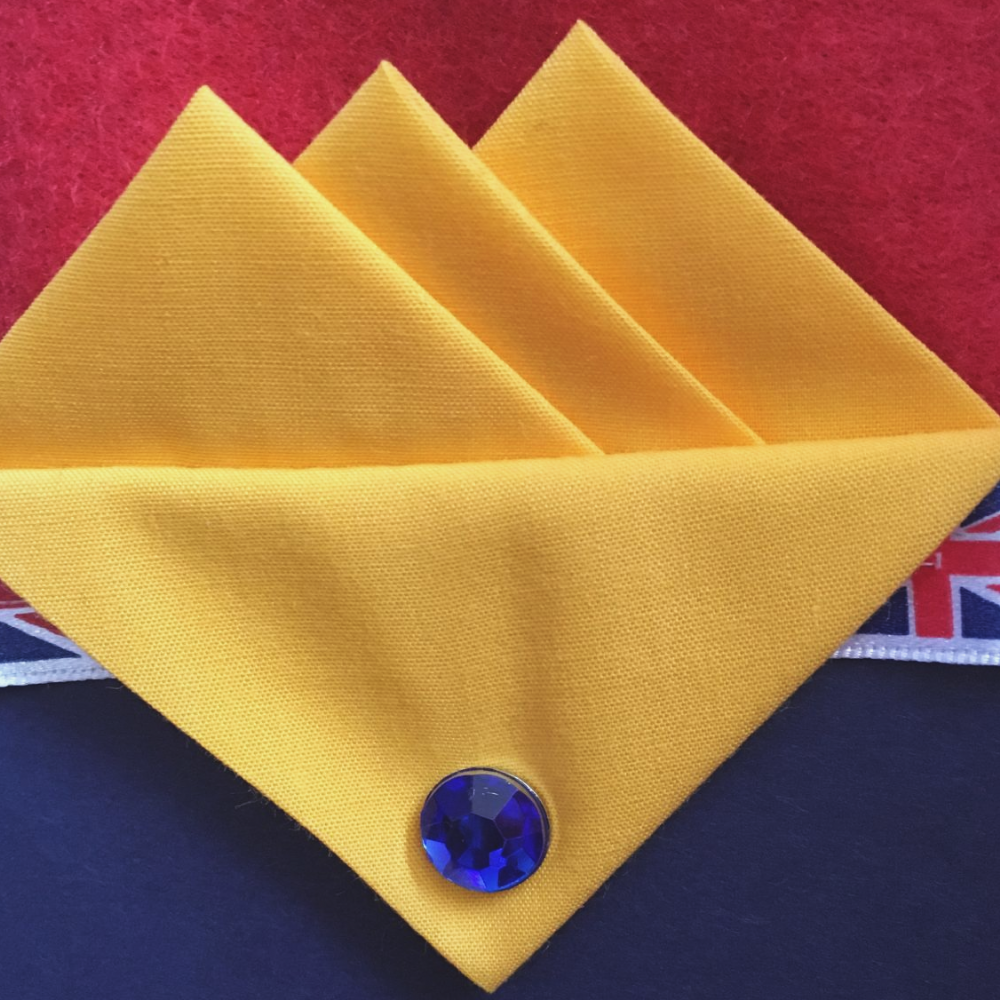 Pale Yellow Three Point Pocket Hankie & Pin